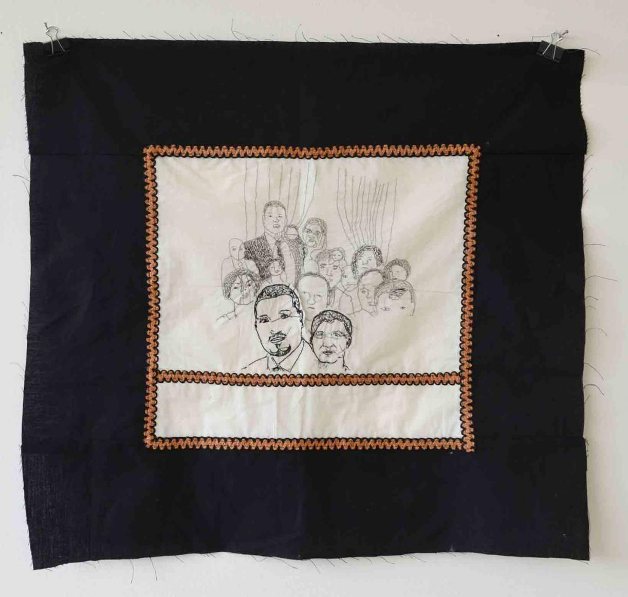 My speciality was to make a peasants' haircut, but they obliged me work till midnight often, 2015-2017, hand and machine stitched embroidery, 68 x 72 cm