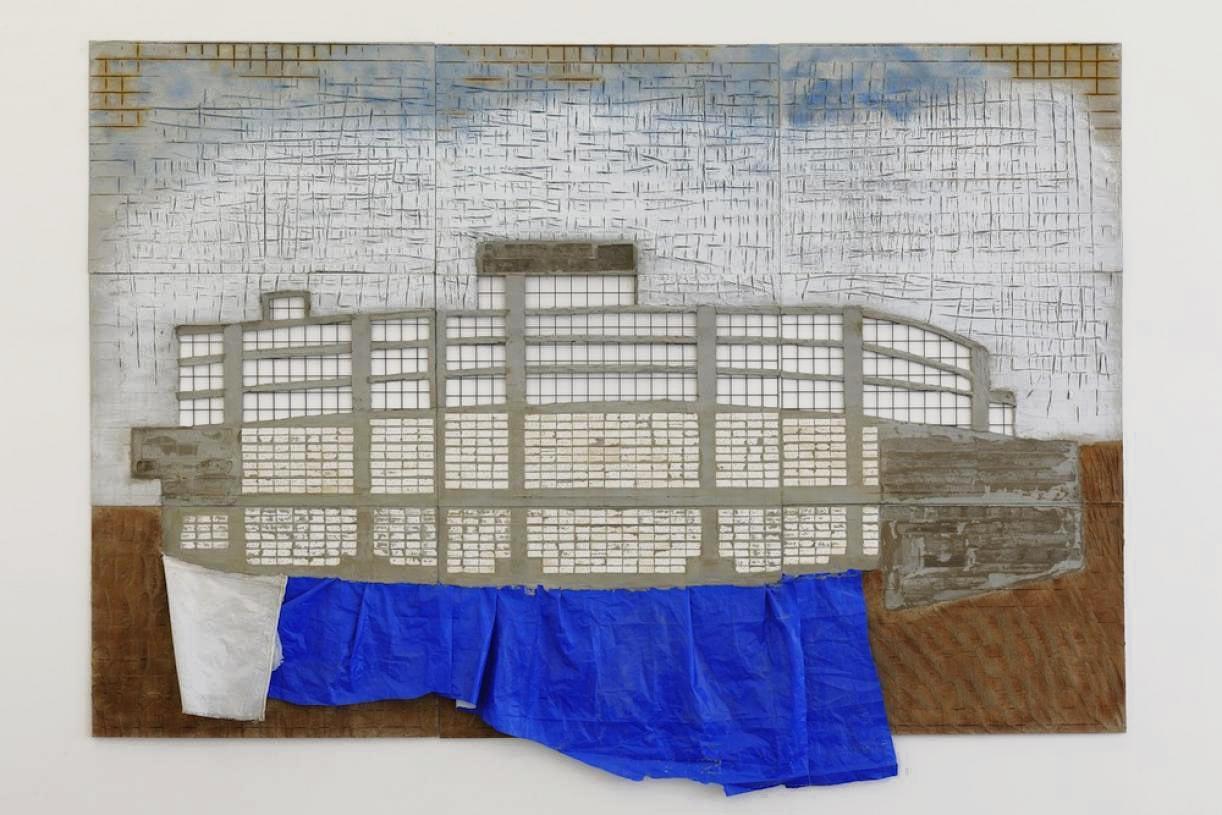 Blue Building, 2015, Concrete, plastic, steel, paint, 240 x 360 x 7 cm; In 9 parts, 80 x 20 x 7 cm each, Unique