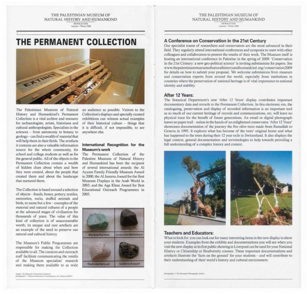 The Palestinian Museum of Natural History and Humankind, Newsletter, Autumn - Winter 2008