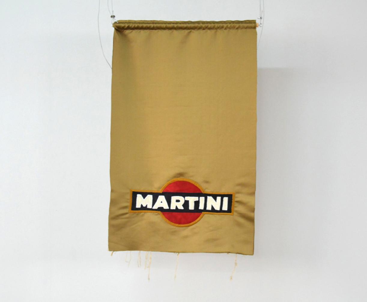Blazon: Parc, Martini Logo, 2015, Embroidery and applique on textile, 98 x 62 cm, Ed. 3 + 2 AP