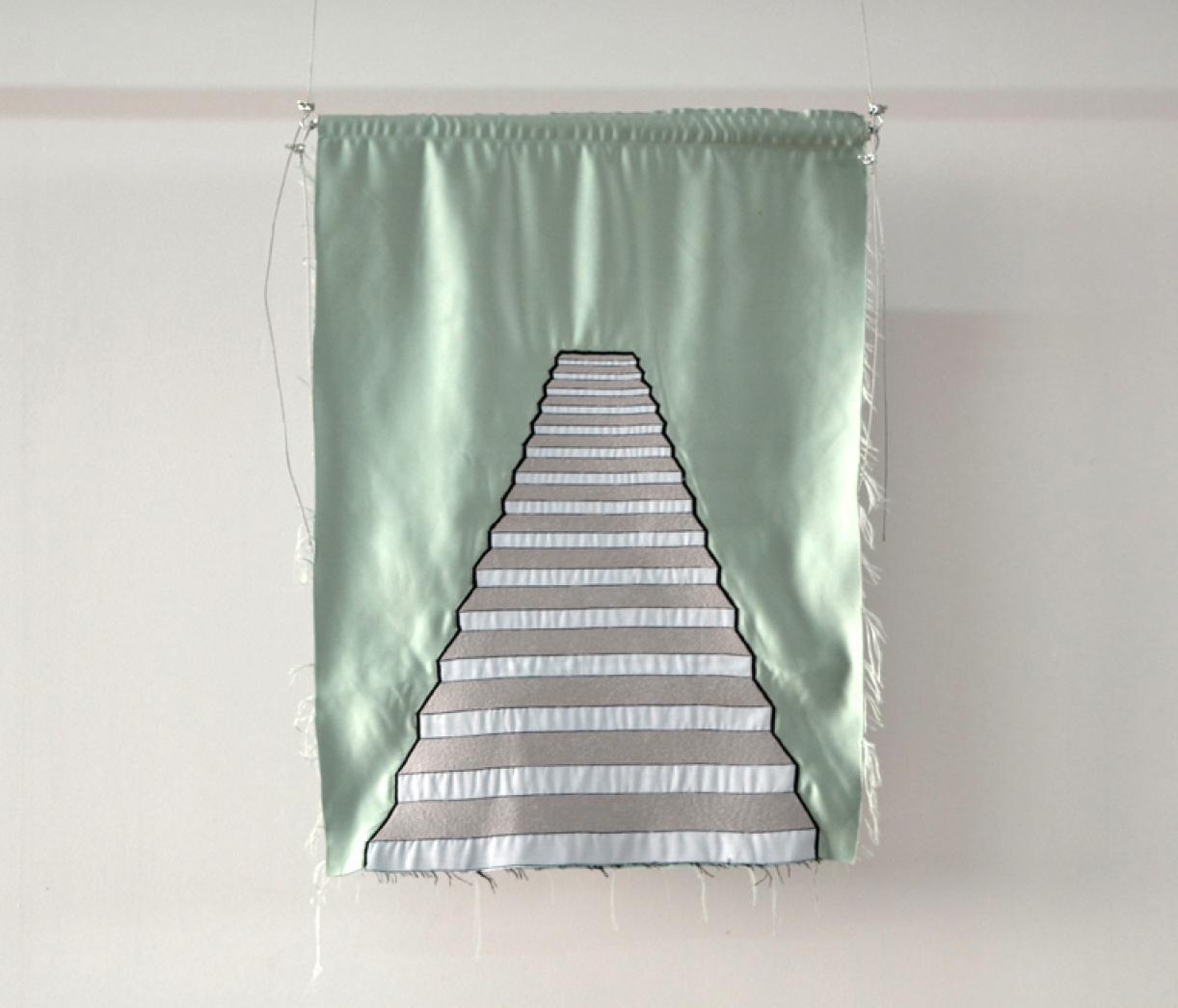 Blazon: Achrafiye, Stairs, 2015, Embroidery and applique on textile, 81.5 x 59 cm, Ed. 3 + 2 AP