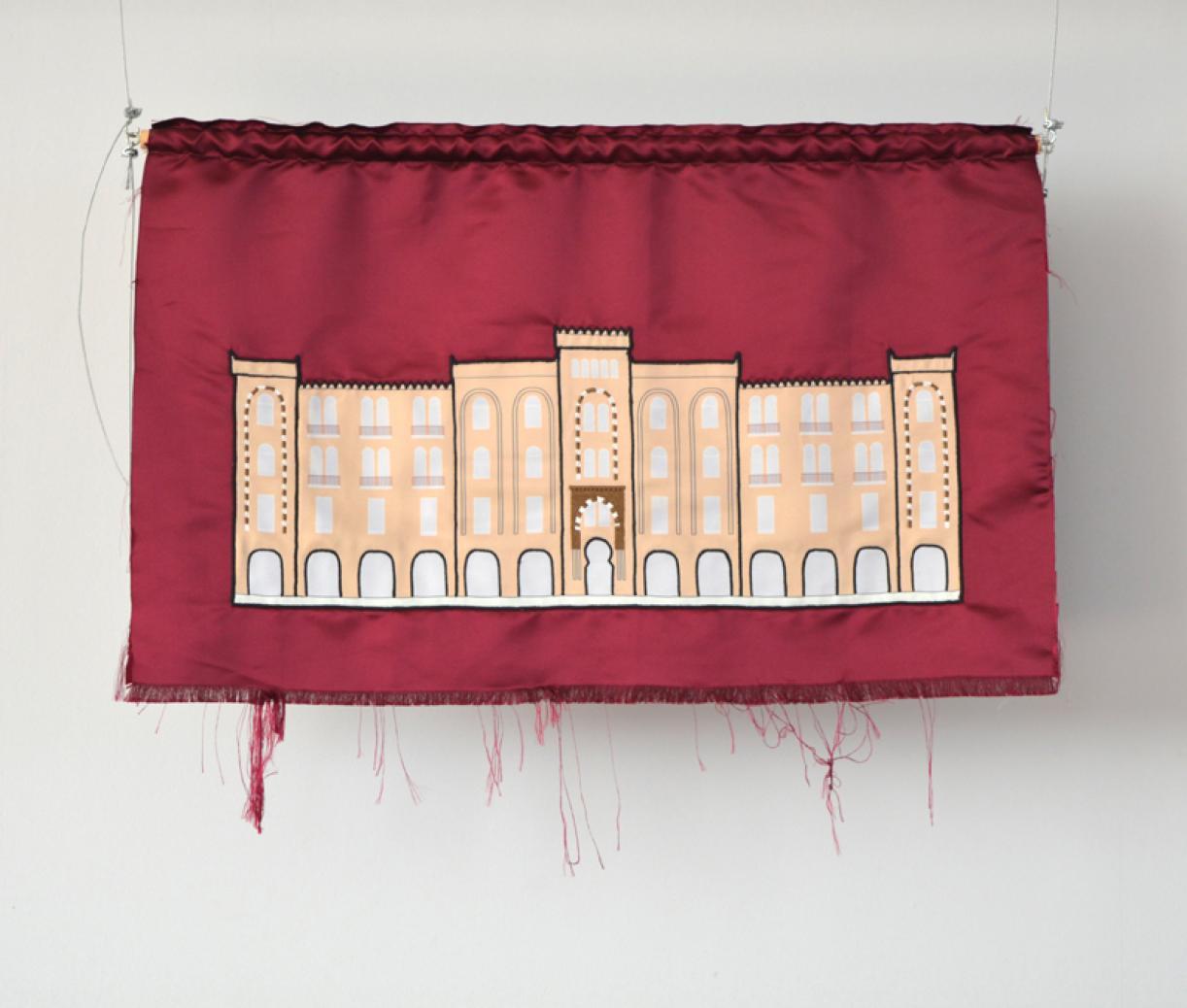Blazon: Nijmeh, Baladiyyet Beirut, 2015, Embroidery and applique on textile, 58 x 93 cm, Ed. 3 + 2 AP