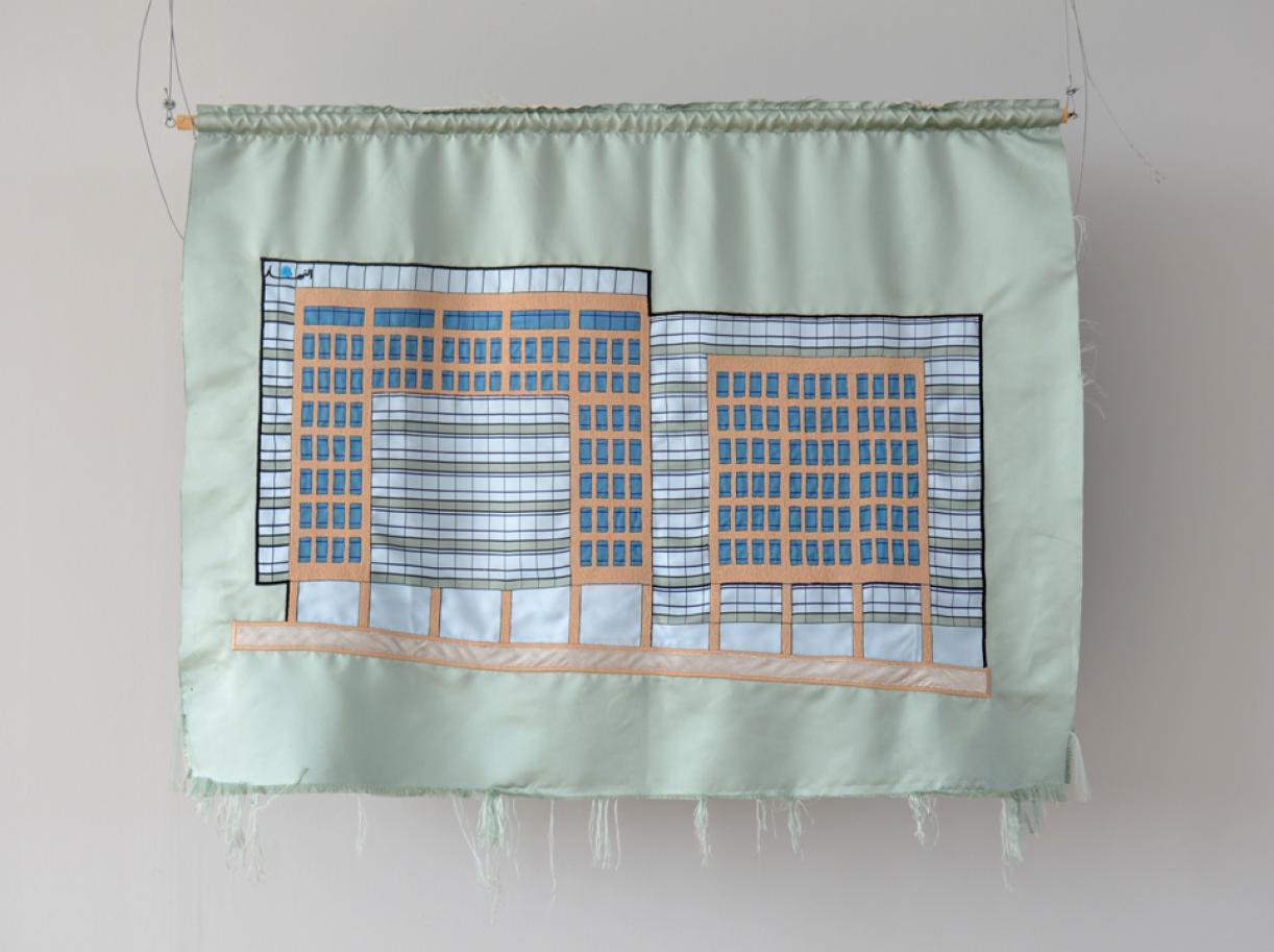 Blazon: Majidiyeh, An-Nahar, 2015, Embroidery and applique on textile, 90 x 119 cm, Ed. 3 + 2 AP