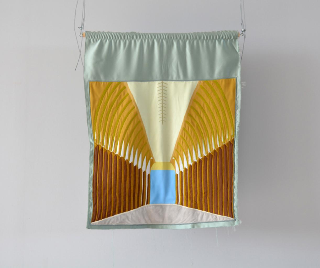 Blazon: Majidiyeh, Souk El Tawileh, 2015, Embroidery and applique on textile, 85 x 64 cm, Ed. 3 + 2 AP