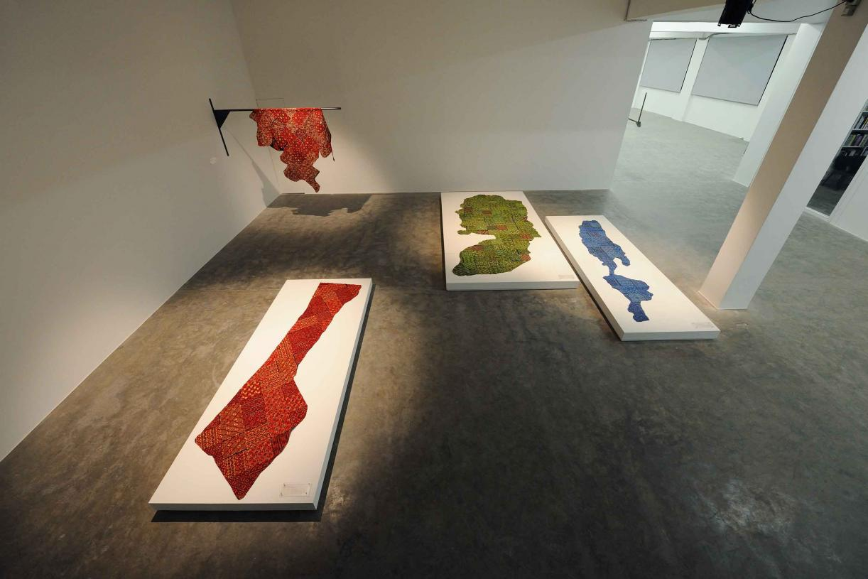 Hide Geographies, 2017, 4 embroideries on fabric, Variable dimensions, Variations of 3 + 2 AP, Each unique