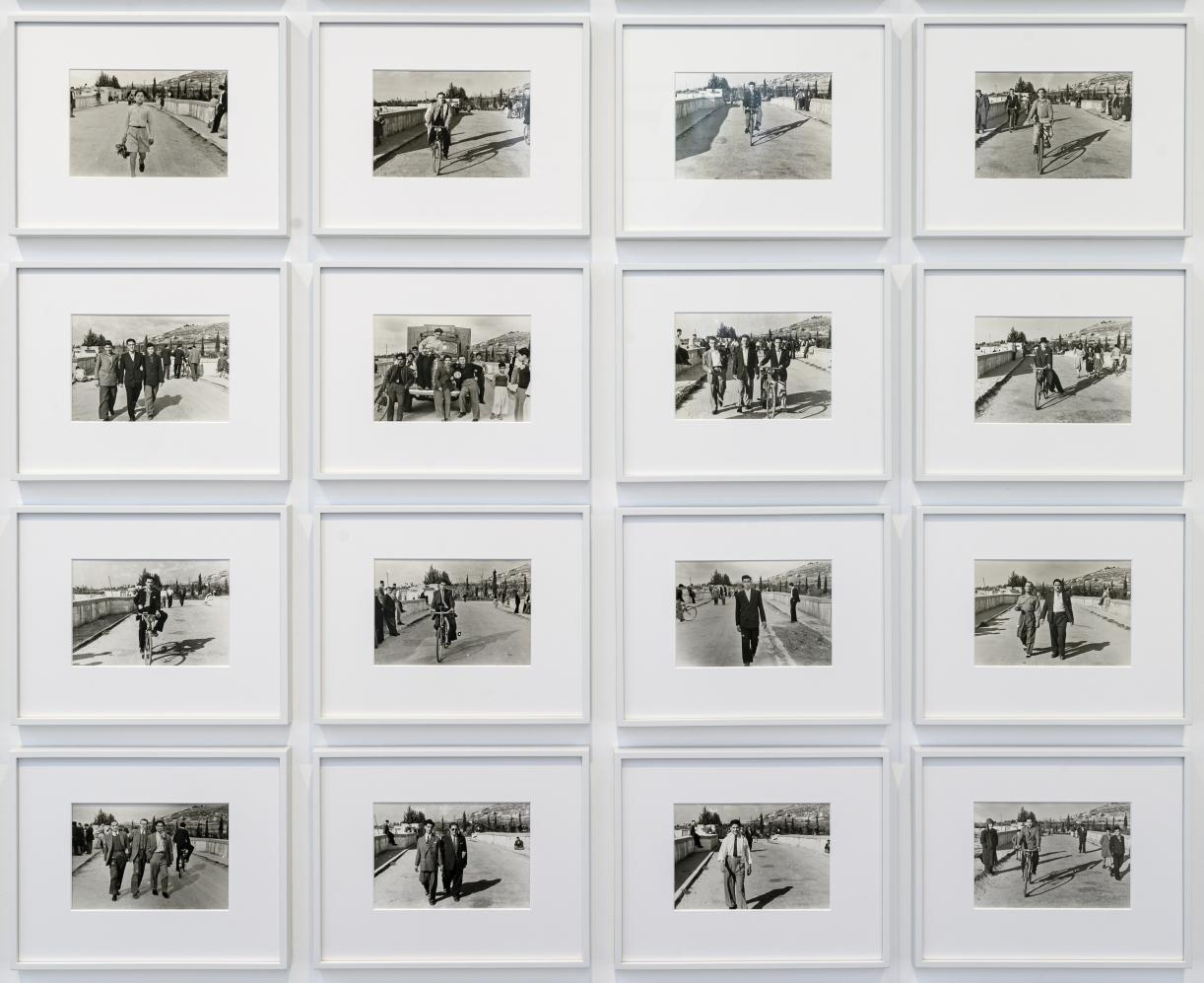 60 Men Crossing Ain El Helweh Bridge, 2007, 36 black and white silver gelatin prints. From the archive of Hashem El Madani, Studio Sheherzade, Saida, 22 x 15 cm each
