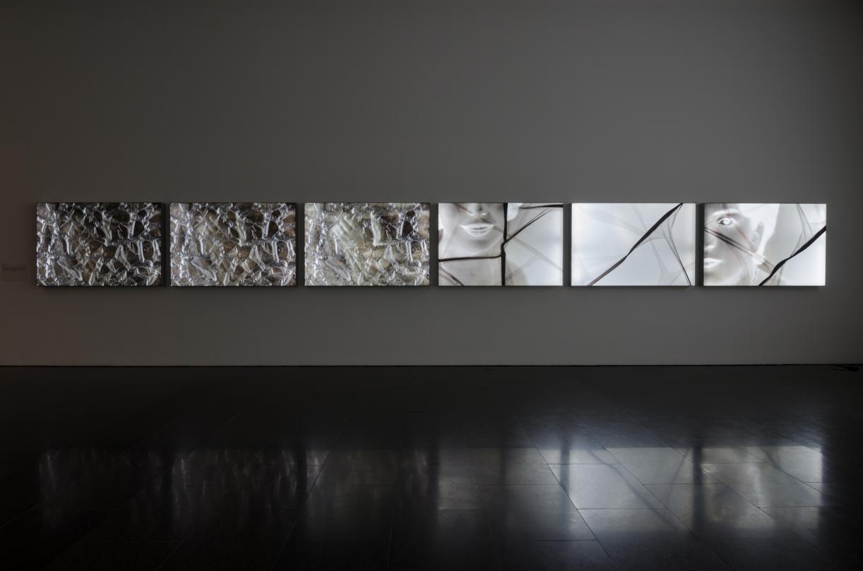Sculpting With Time, 2017, 6 pigment inkjet prints on backlit UV cloth, 100 x 150 x 10 cm each. Installation view MACBA, Barcelona. © Mirjan Mahmoud_2