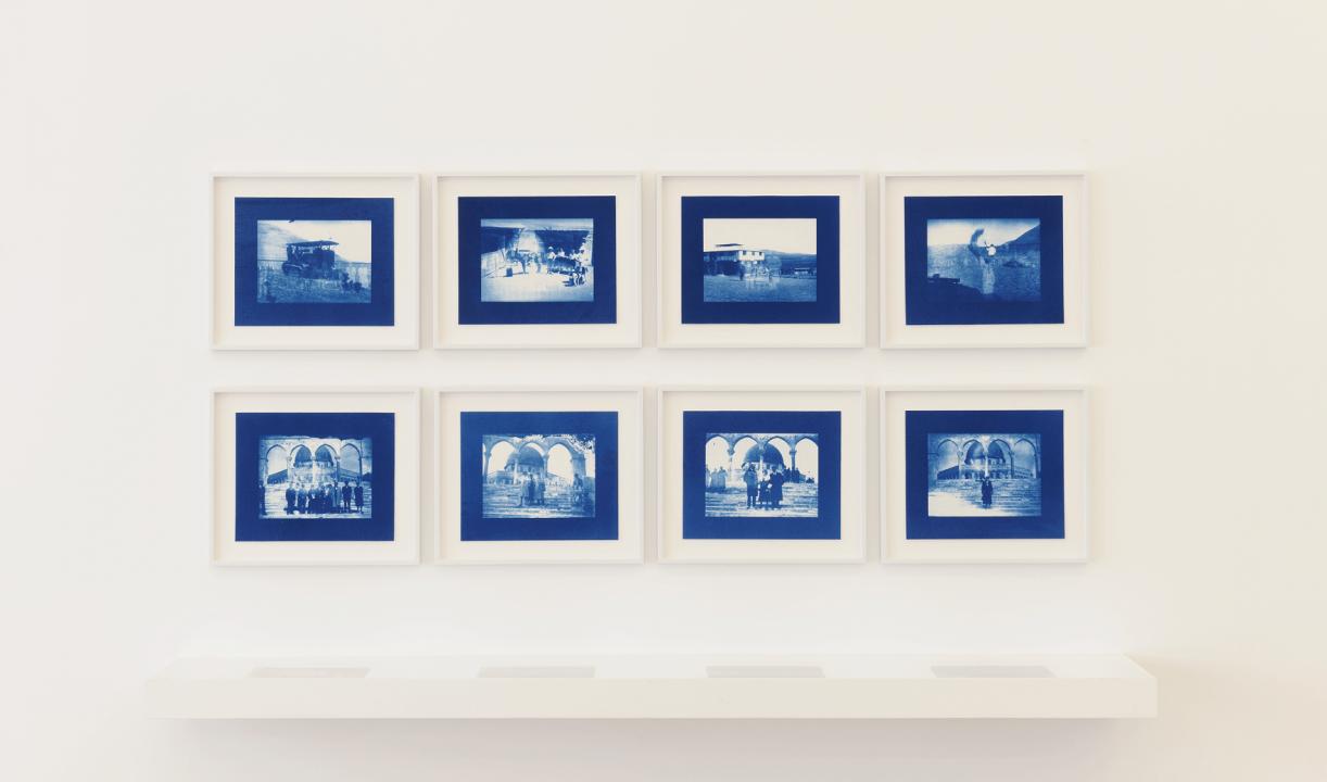 Un-Dividing History, 2017, 4 Pairs of glass plates, 18 x 24 cm each, 8 Cyanotype contact-prints, 18 x 24 cm each. Installation view Sfeir-Semler Gallery, Beirut