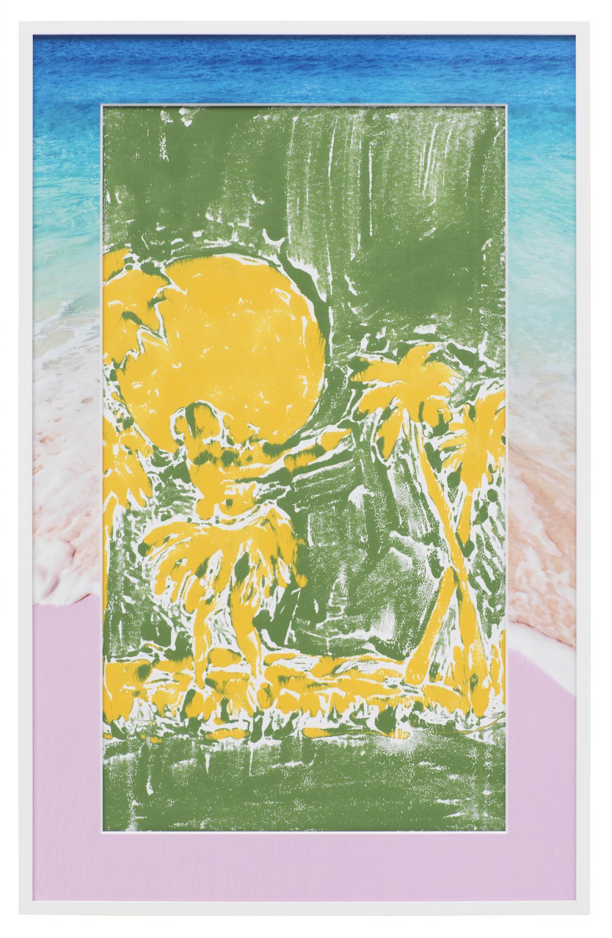 Christine Streuli, Abklatsch / Kennst Du das Land, wo die Zitronen blühen_05, 2017/18, Mixed Media on Paper, framed, 90 x 58 cm