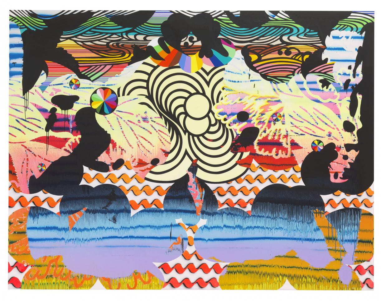 Christine Streuli, Nightshade_03, 2017, Mixed media on canvas, 230 x 300 cm