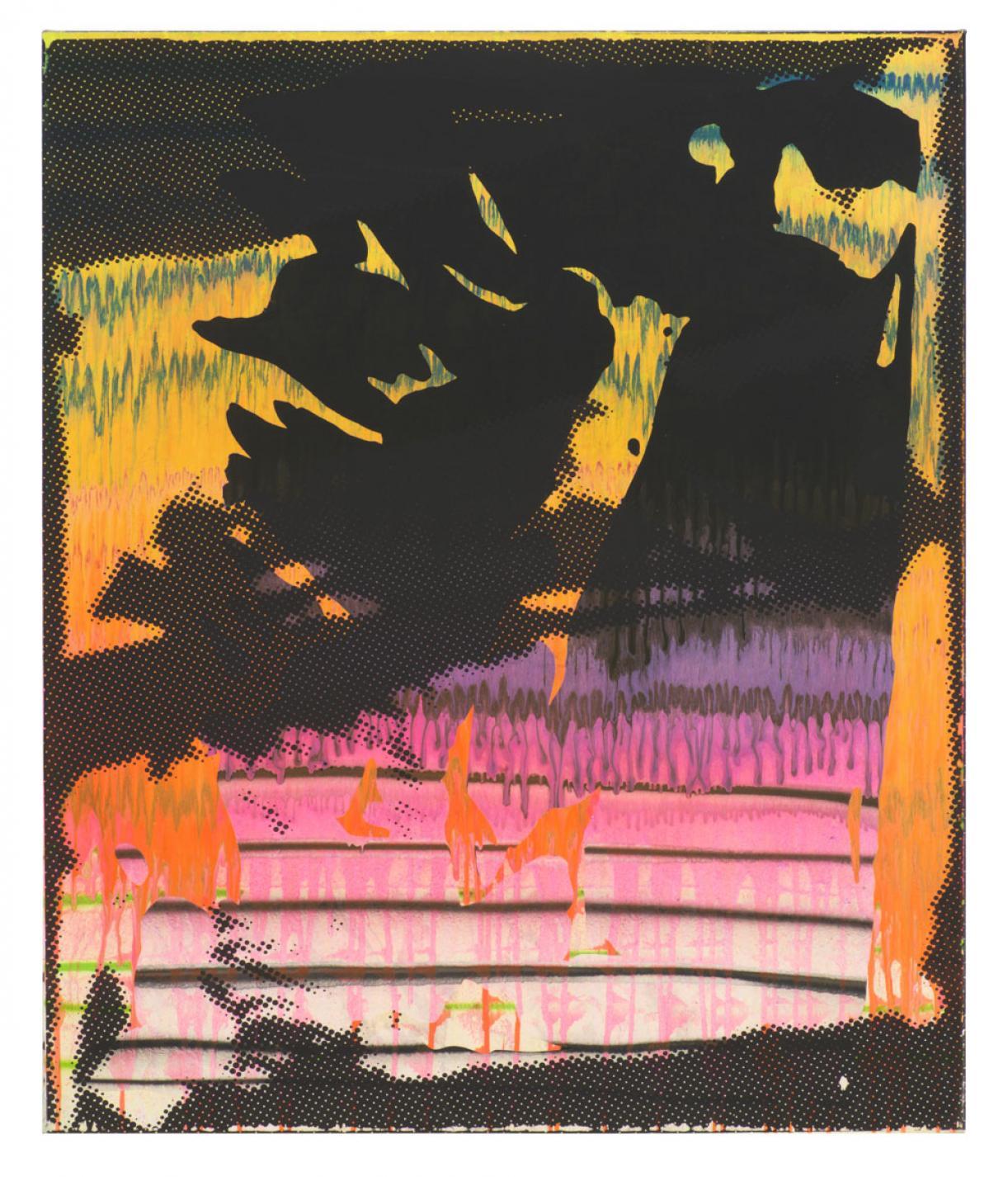 Christine Streuli, Cliff, 2018, Mixed media on canvas, 120x100cm, Unique