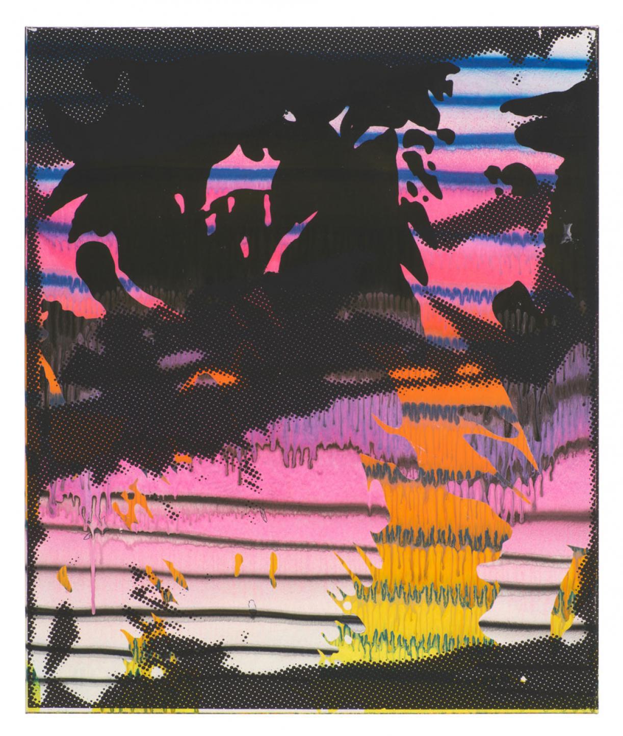 Christine Streuli, Gorge, 2018, Mixed media on canvas, 120x100cm, Unique
