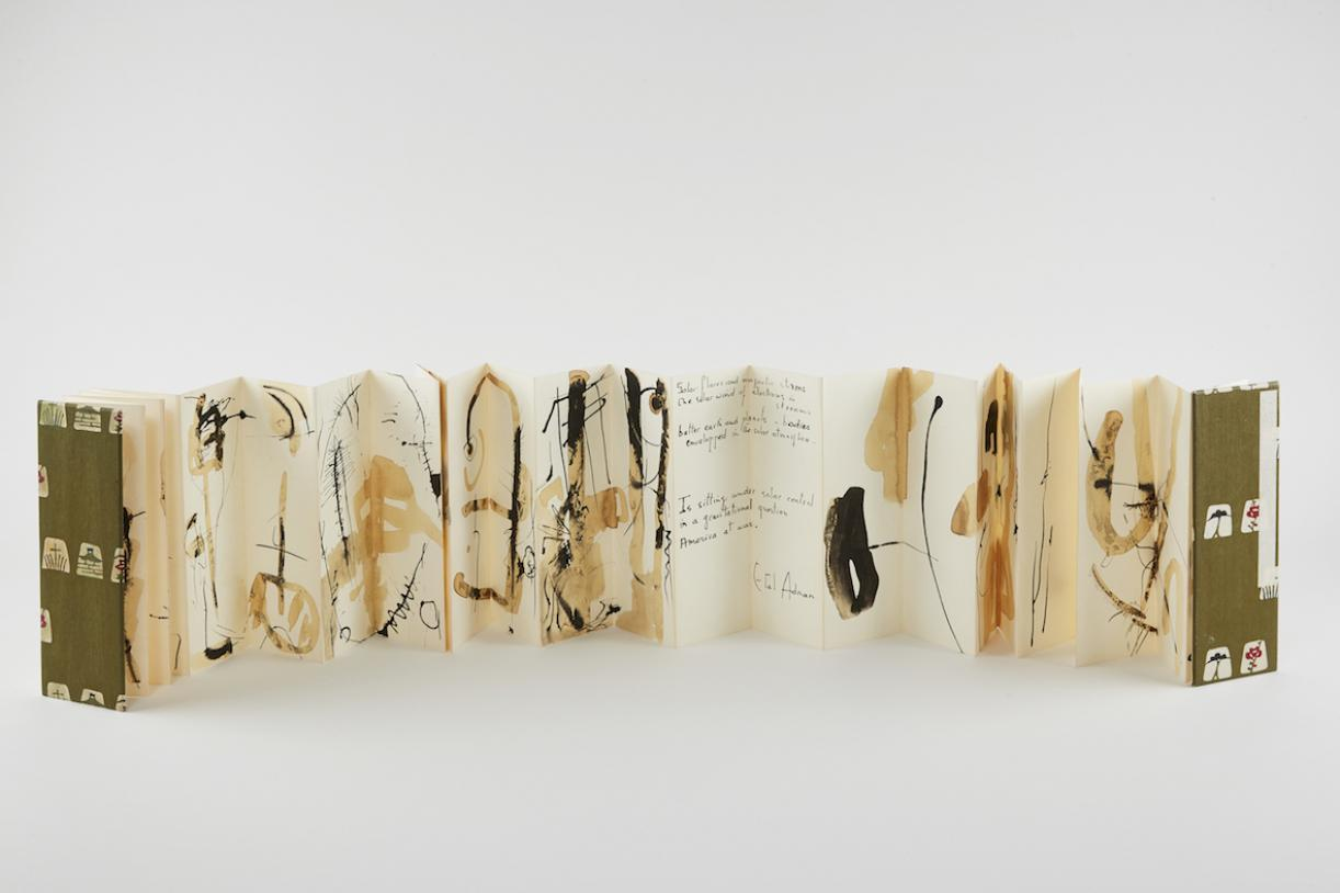 Untitled, 1965, Folded leporello book, watercolor on paper, Closed: 21.2 x 7.6 x 1.7 cm, 30 pages, Max. extension: 243.2 cm