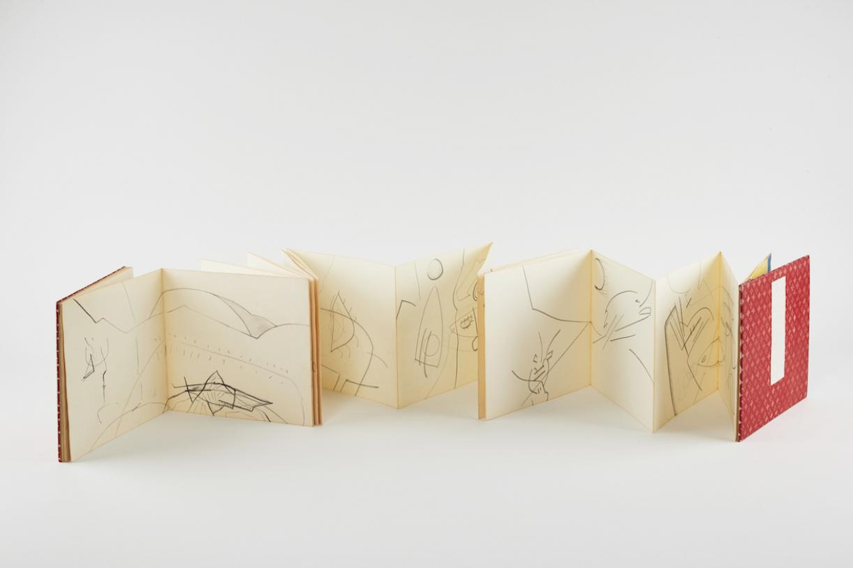 Untitled, 1961, Folded leporello book, watercolor on paper, Closed 17.8 x 19.7 x 1.7 cm, 31 pages, Max extension 552.7 cm