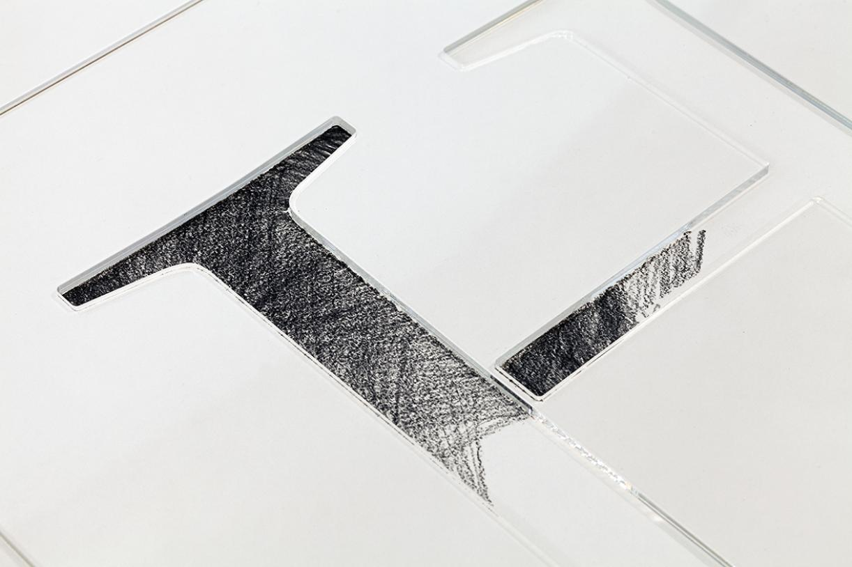Writing, Museum name, H Letters, 2014, Plexiglass and pencil on paper, Variable dimensions