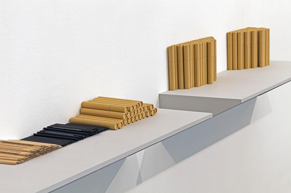 Writing, Museum name, pencil shelves, 2014, Wooden pencils, tubes, shelves, Variable dimensions