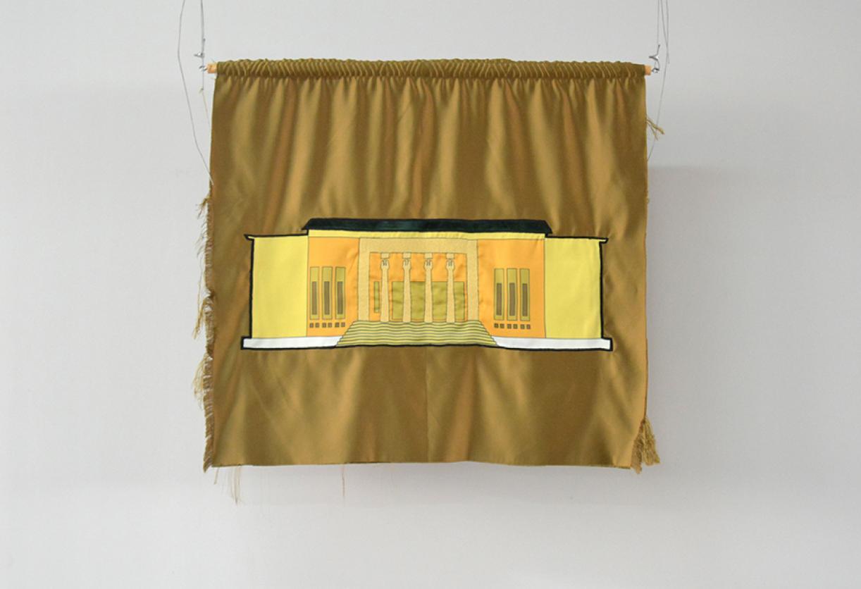 Blazon: Parc, El-Mathaf, 2015, Embroidery and applique on textile, 79 x 89 cm, Ed. 3 + 2 AP