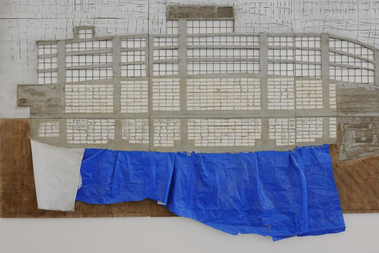 Marwan Rechmaoui, Blue Building, 2015, Concrete, plastic, paint, 240 x 360 x 0.5 cm, Unique, Detail