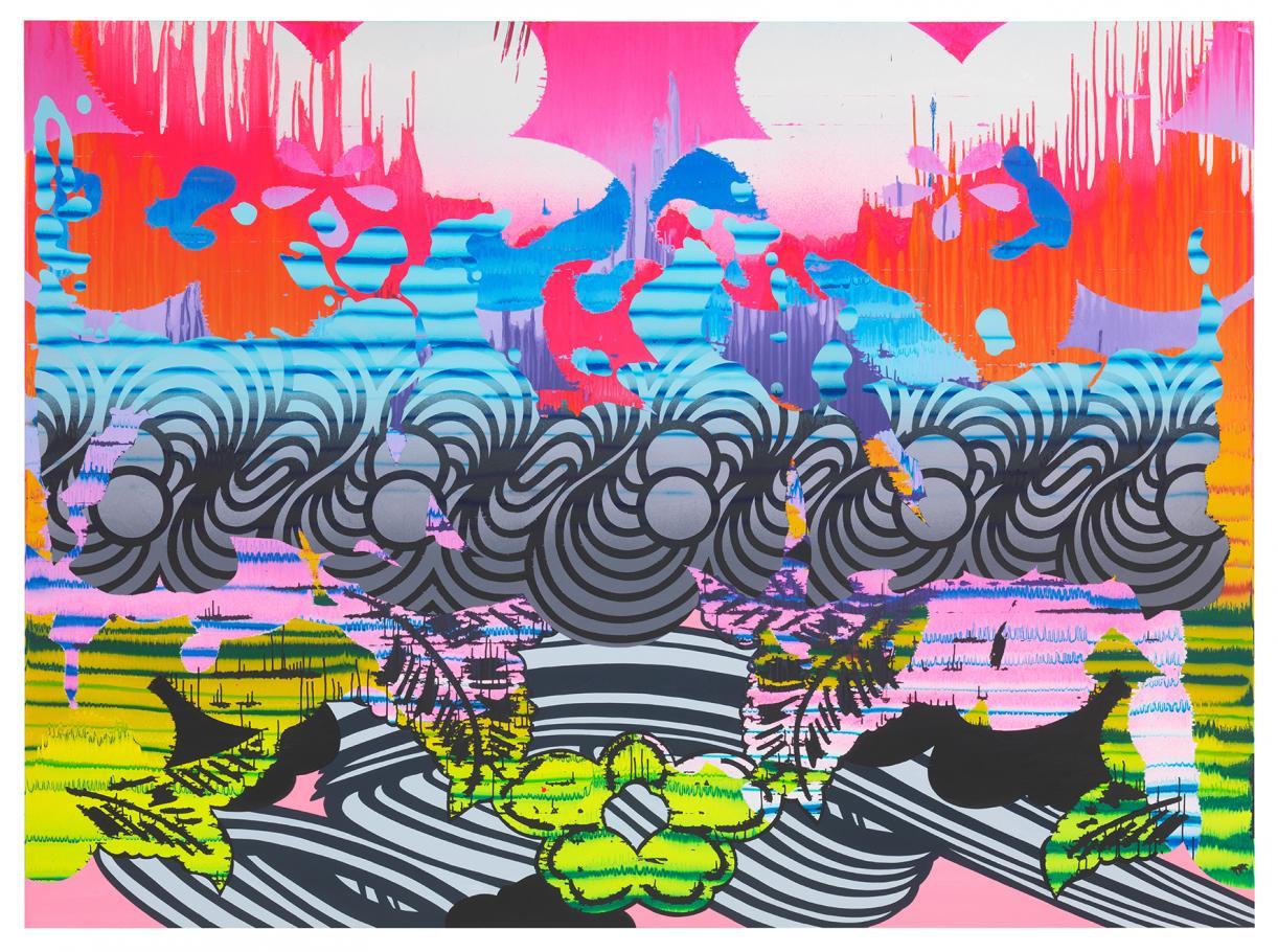 Christine Streuli, Nightshade_02, 2017, Mixed media on canvas, 230 x 300 cm