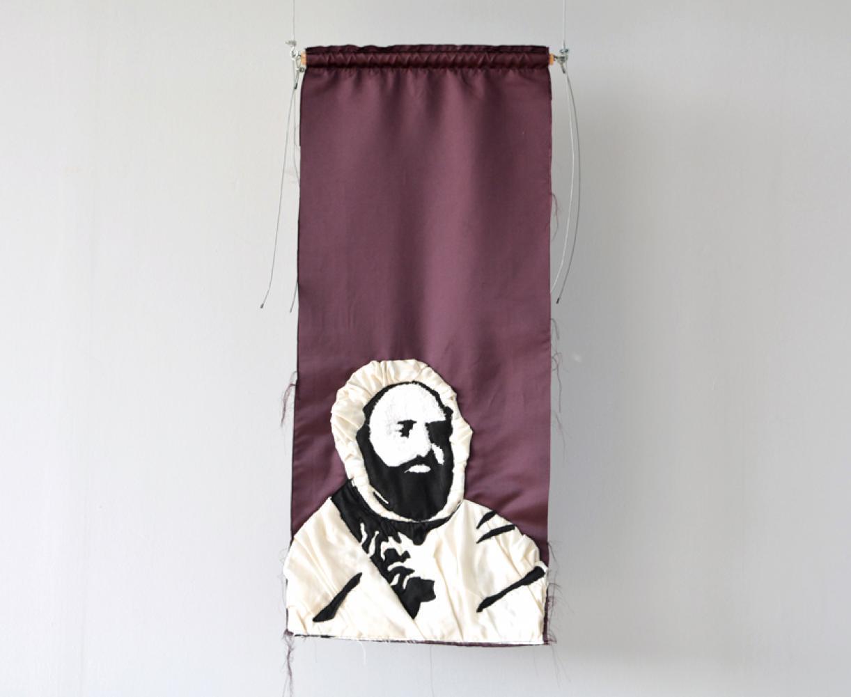 Blazon: Serail, Abdel Kadir El-Jazaqiri, 2015, Embroidery and applique on textile, 100 x 44 cm, Ed. 3 + 2 AP