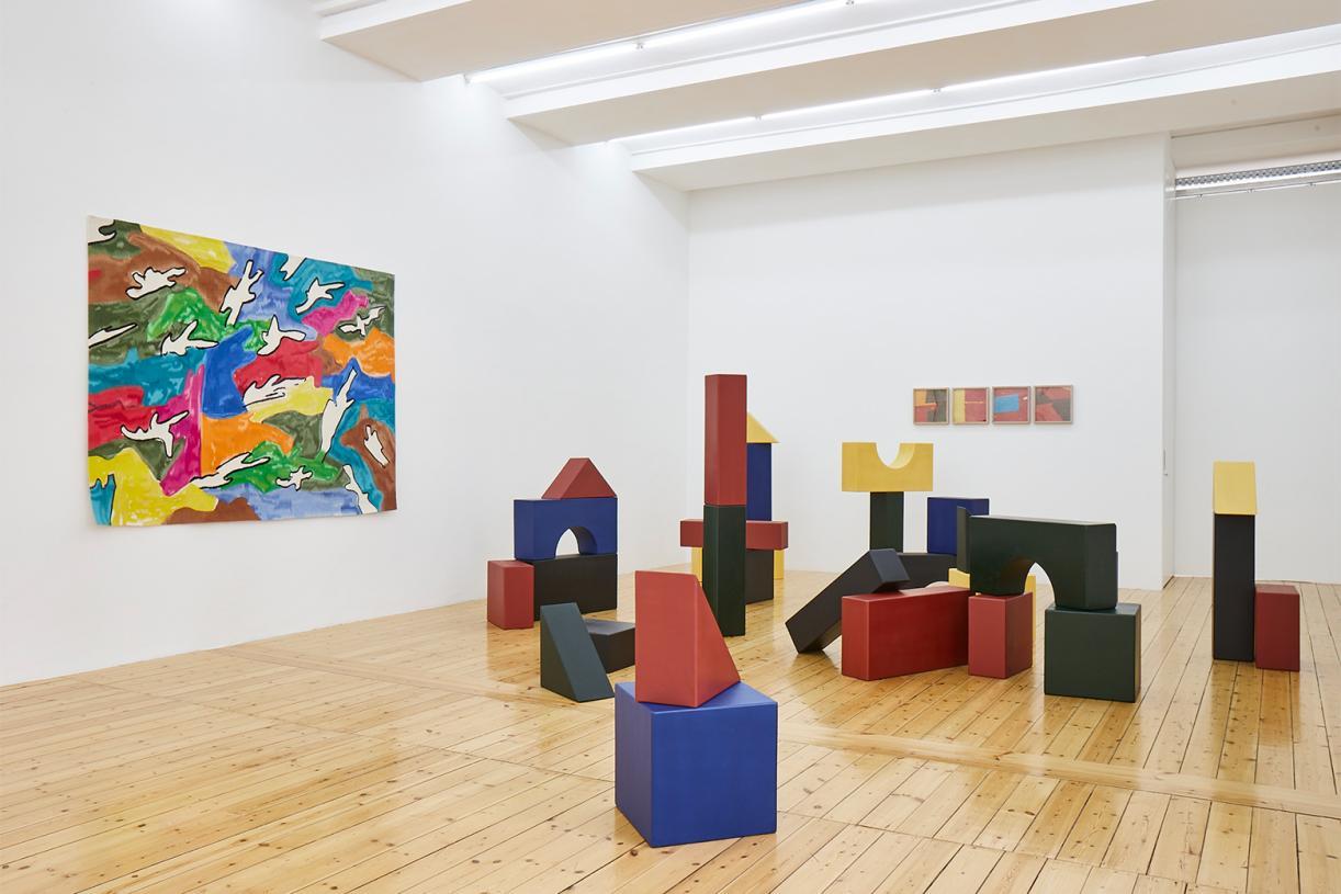 Lyautey Unit Blocks, 2010, wood, paint, dimensions variable. Installation view Sfeir-Semler Gallery, Hamburg, 2020