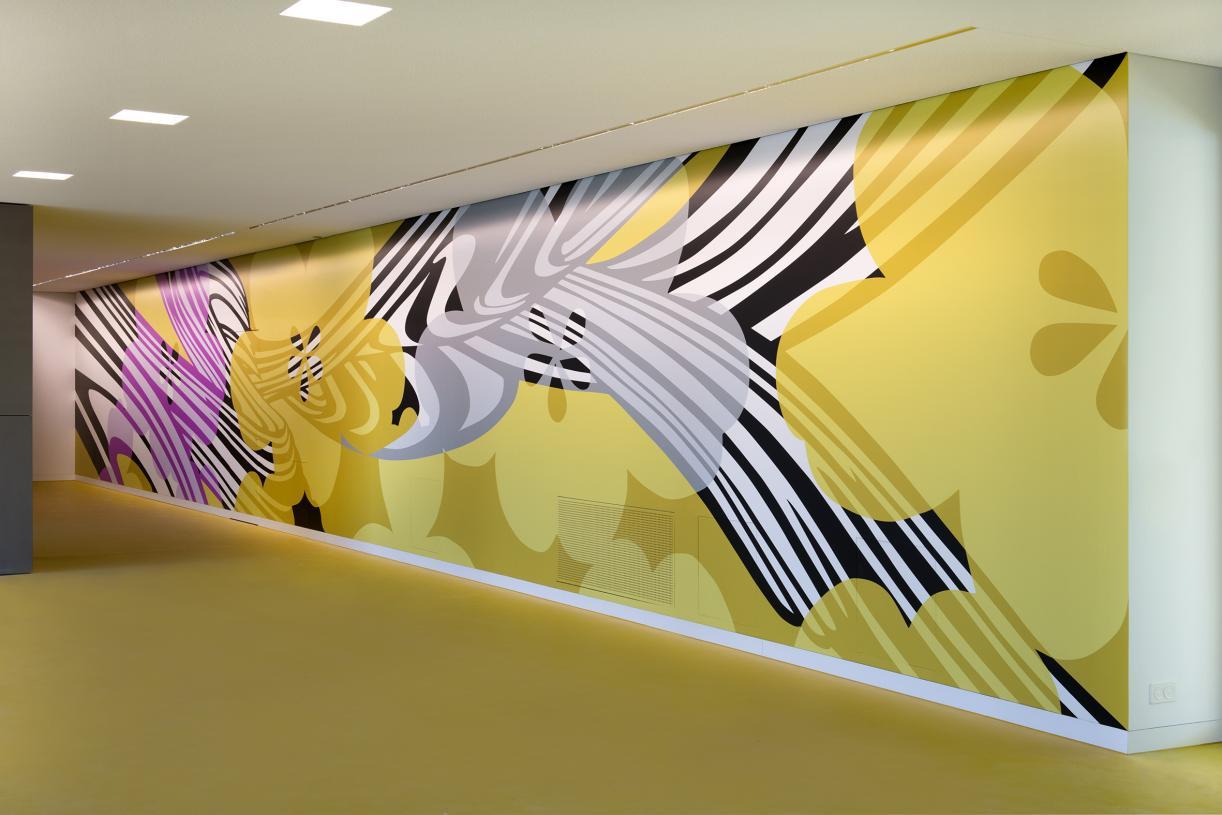 Christine Streuli, Schnittmengen, Exhibition view, Kunst am Bau, Bildungszentrum Uster, 2019