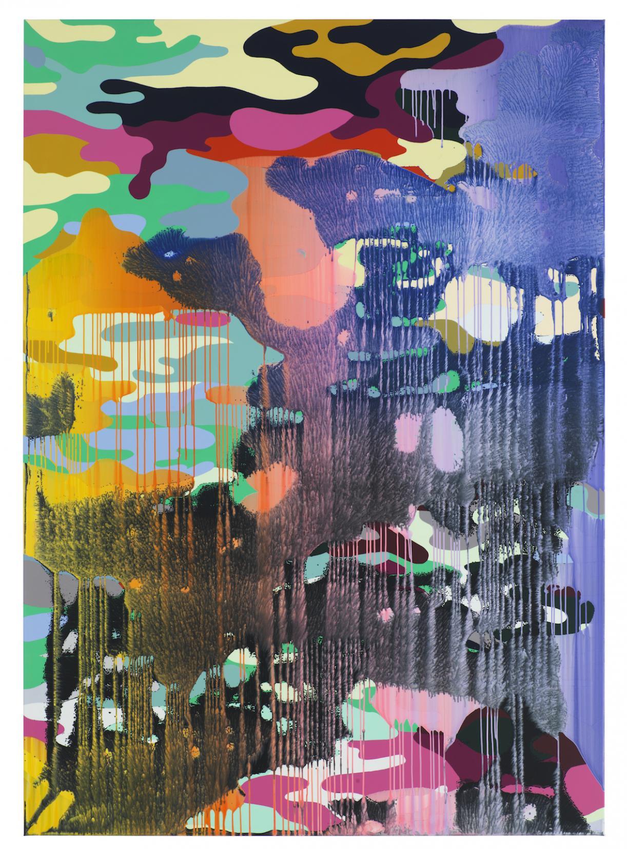 Christine Streuli, Warainting_001, 2016/17, Mixed media on canvas, 243,5 x 173 cm