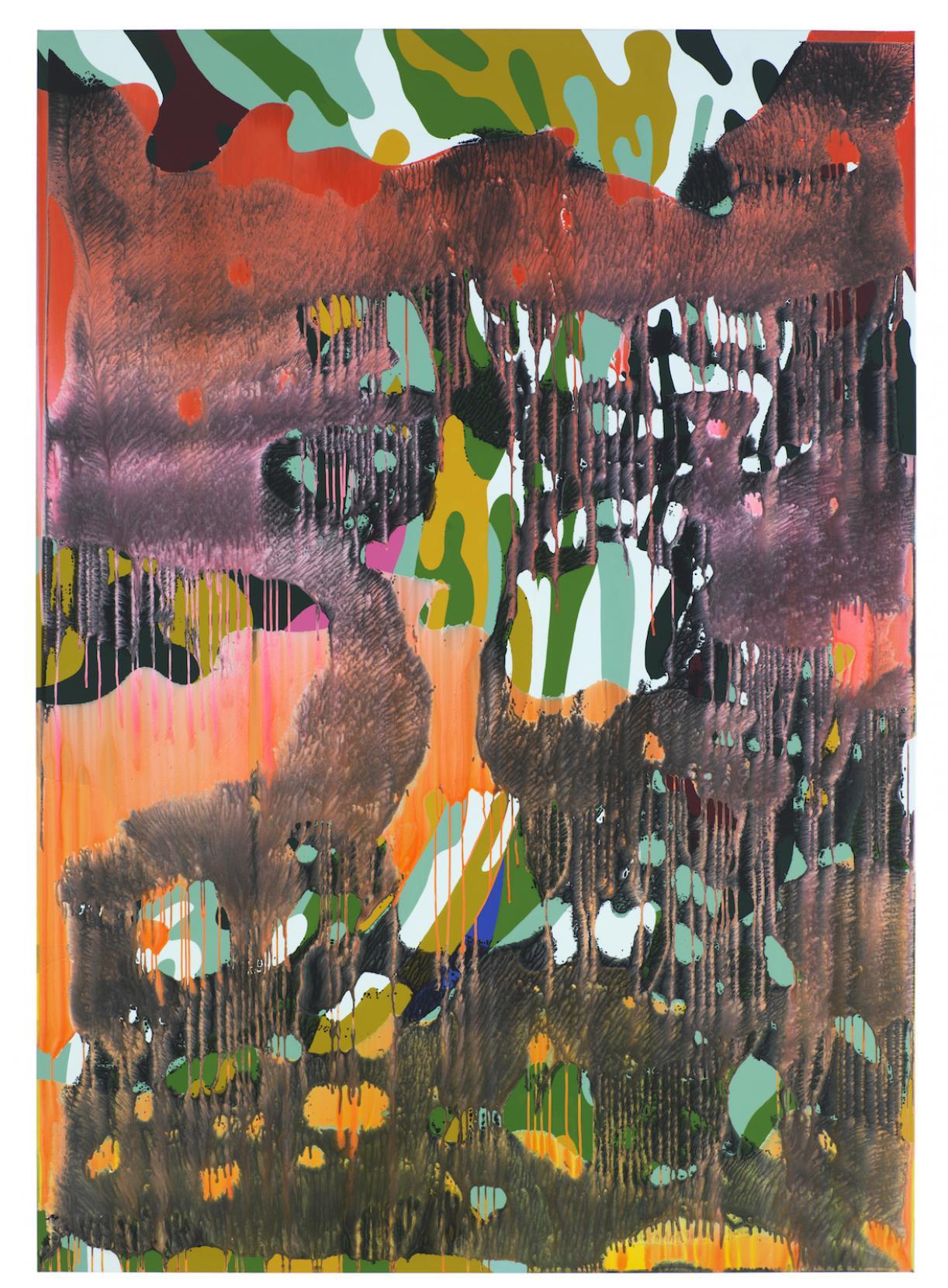 Christine Streuli, Warainting_002, 2016/17, Mixed media on canvas, 243,5 x 173 cm