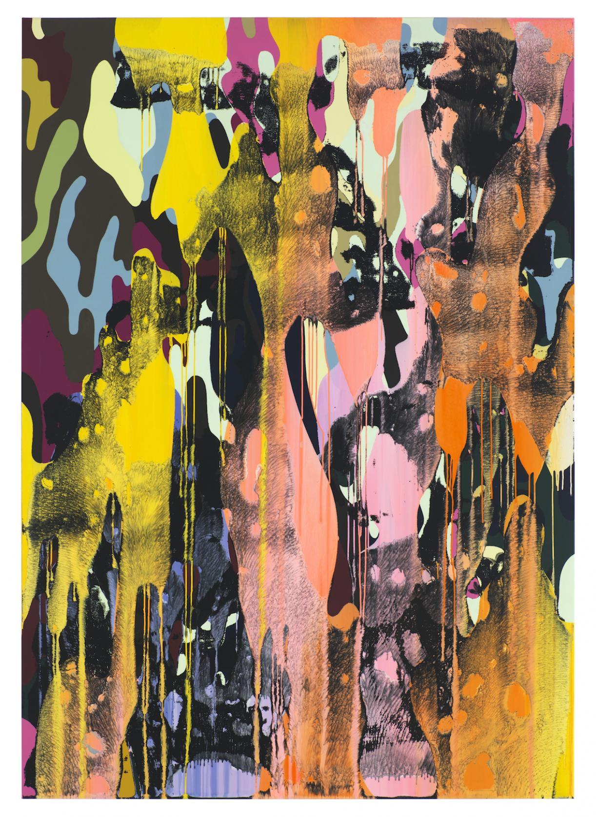 Christine Streuli, Warainting_004, 2016/17, Mixed media on canvas, 243,5 x 173 cm