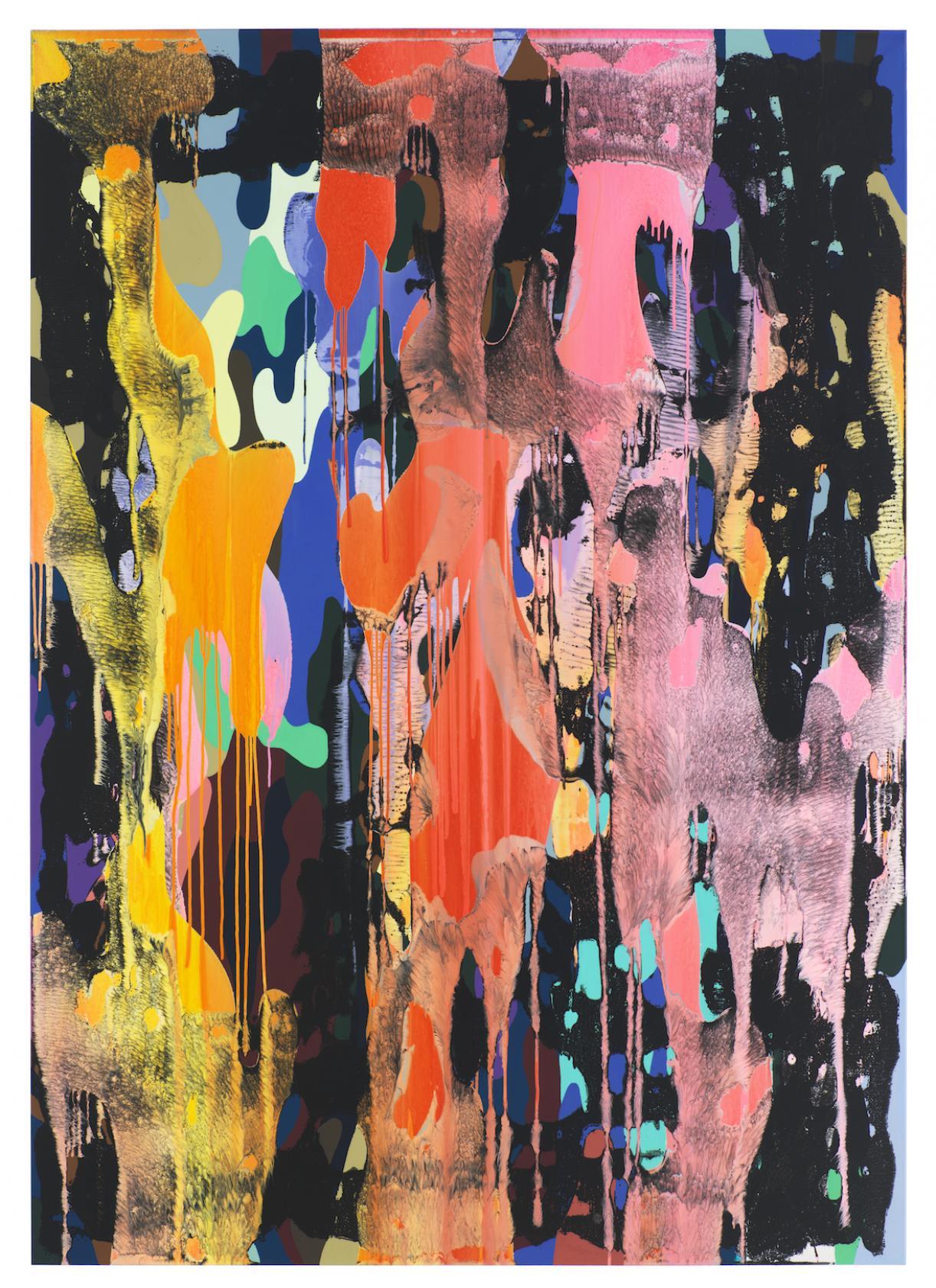 Christine Streuli, Warainting_005, 2016/17, Mixed media on canvas, 243,5 x 173 cm