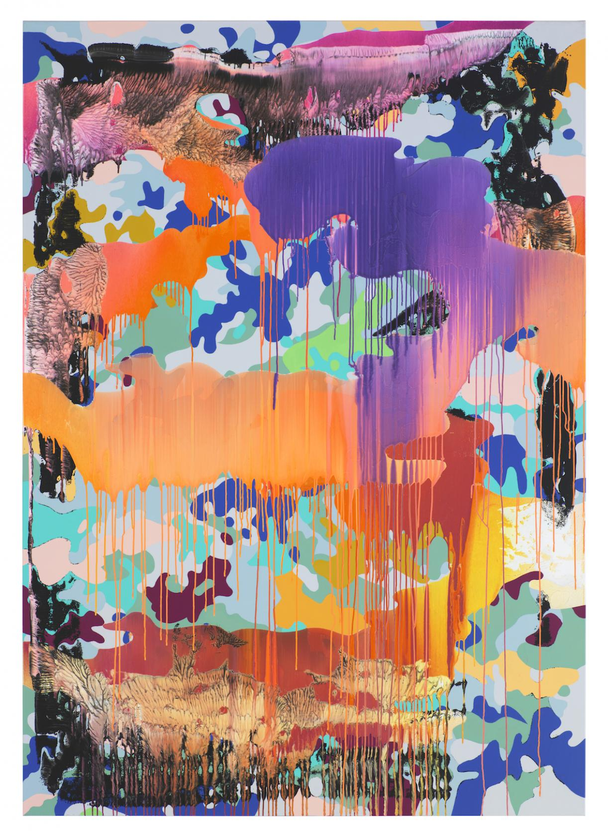 Christine Streuli, Warainting_008, 2016/17, Mixed media on canvas, 243,5 x 173 cm