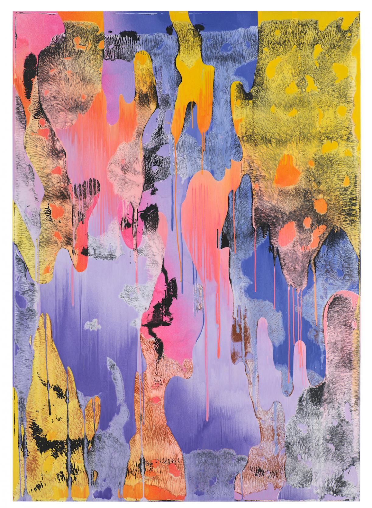 Christine Streuli, Warainting_011, 2016/17, Mixed media on canvas, 243,5 x 173 cm