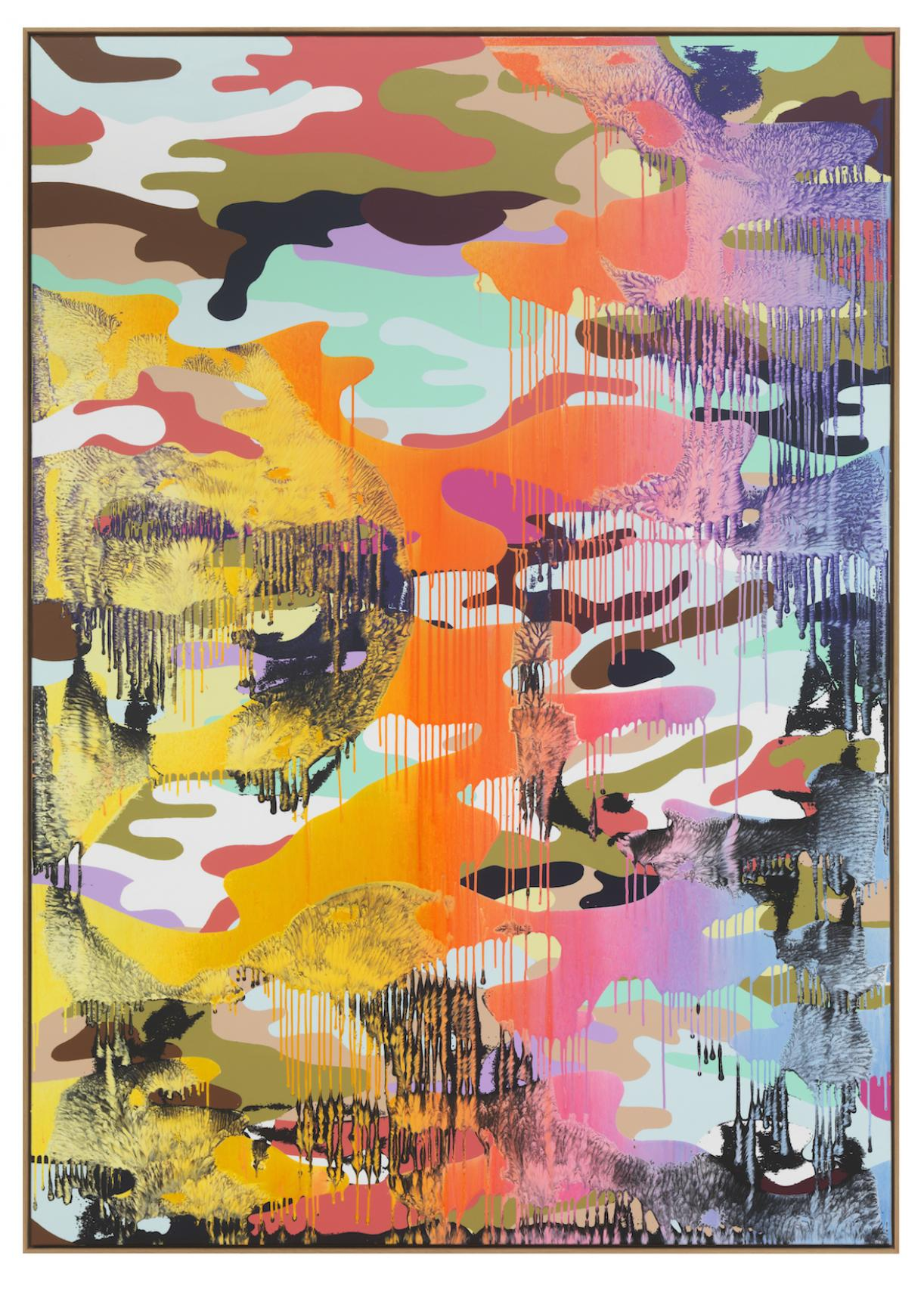 Christine Streuli, Warainting_012, 2016/17, Mixed media on canvas, 243,5 x 173 cm