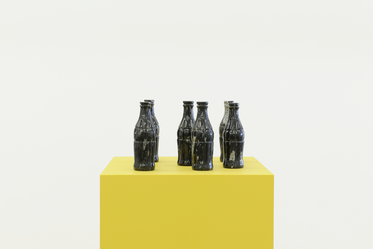 Fossil Coca-Cola Bottles, 2015, Carved Orthoceras Fossil stone 6 pieces, 21.6 x 6 cm each