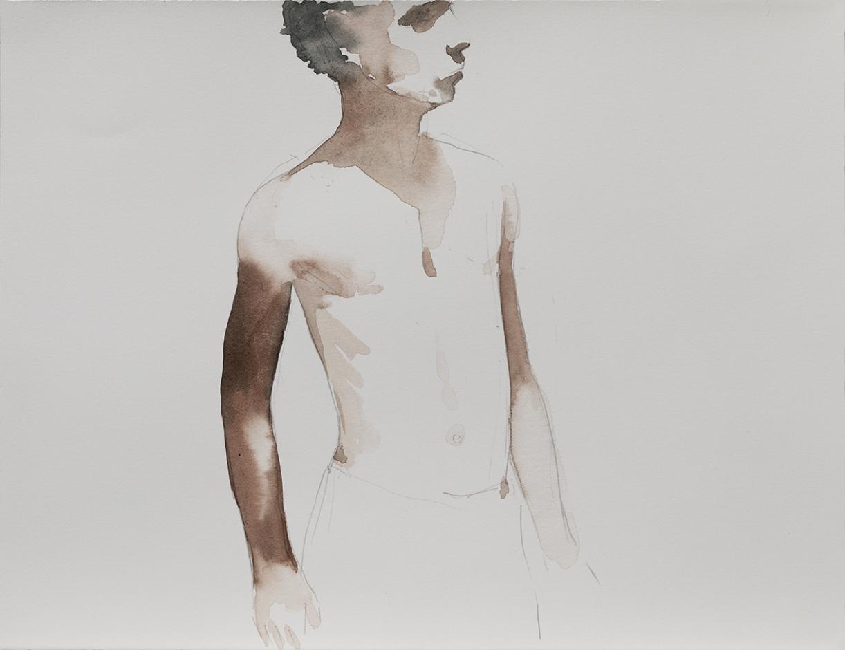 Untitled, 2017, Aquarelle on paper, 27.4 x 36 cm, 34 x 41.5 cm (framed)