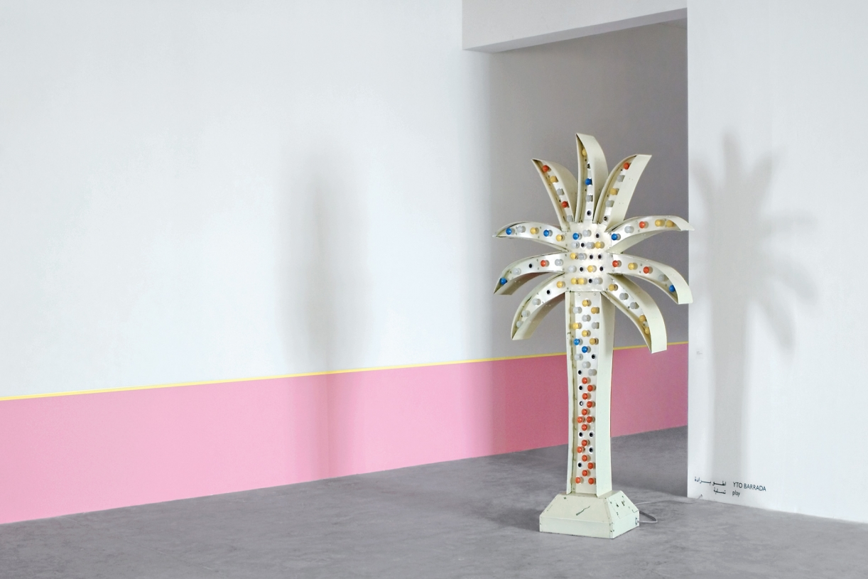 Palm Sign, 2010, Aluminium, paint, color light bulbs, 251 x 152 x 51 cm. Installation view Sfeir-Semler Gallery, Beirut, 2010