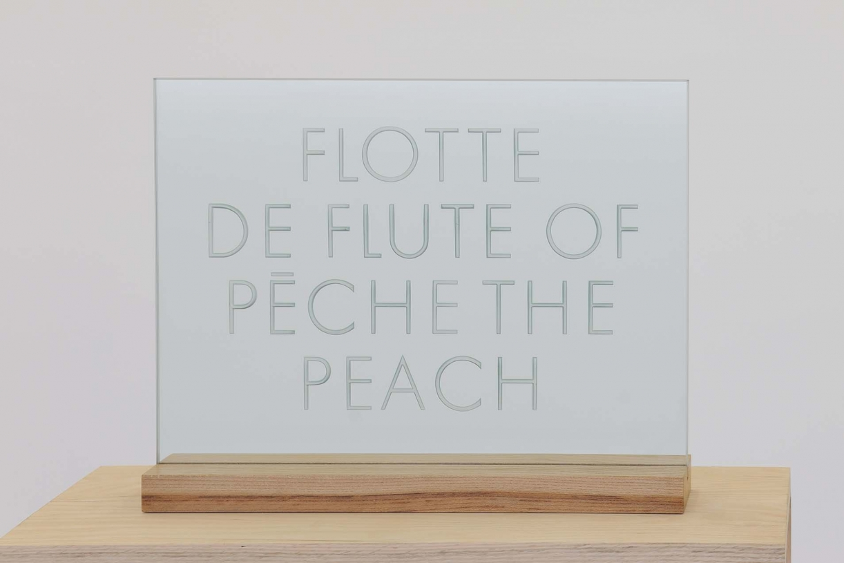 Flotte de Peche, 1990 (text from 1974), Engraved glass, wooden stand, 50.5 x 40 x 10 cm, stand 50.5 x 10 cm, Ed. 3