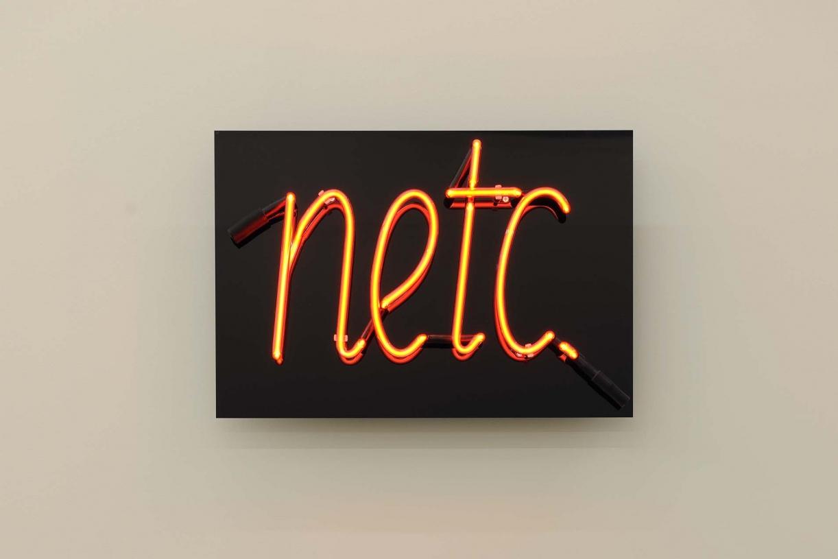 Netc., 1975 (original broken, remade 2014 after original drawing), Neon, ca. 40 x 60 x 8 cm, Unique