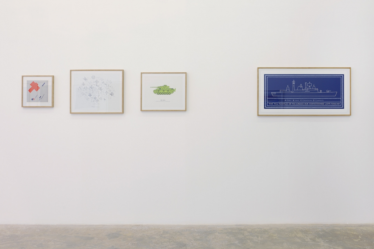 Homage to Malevich,1974 with Michael Harvey, Lithograph in folder, 28 x 28 cm, Ed. 250;Luftwaffe – after Mondrian, 1976 with Jud Fine, Lithograph, 41.5 x 53 cm, Ed. 250;Arcadia, 1973 with George Oliver, Lithograph, 30.5 x 61 cm, Ed. 250;For the Temples of the Greeks…, 1997 with Michael Harvey, Silkscreen, 47 x 100 cm, Ed. 250