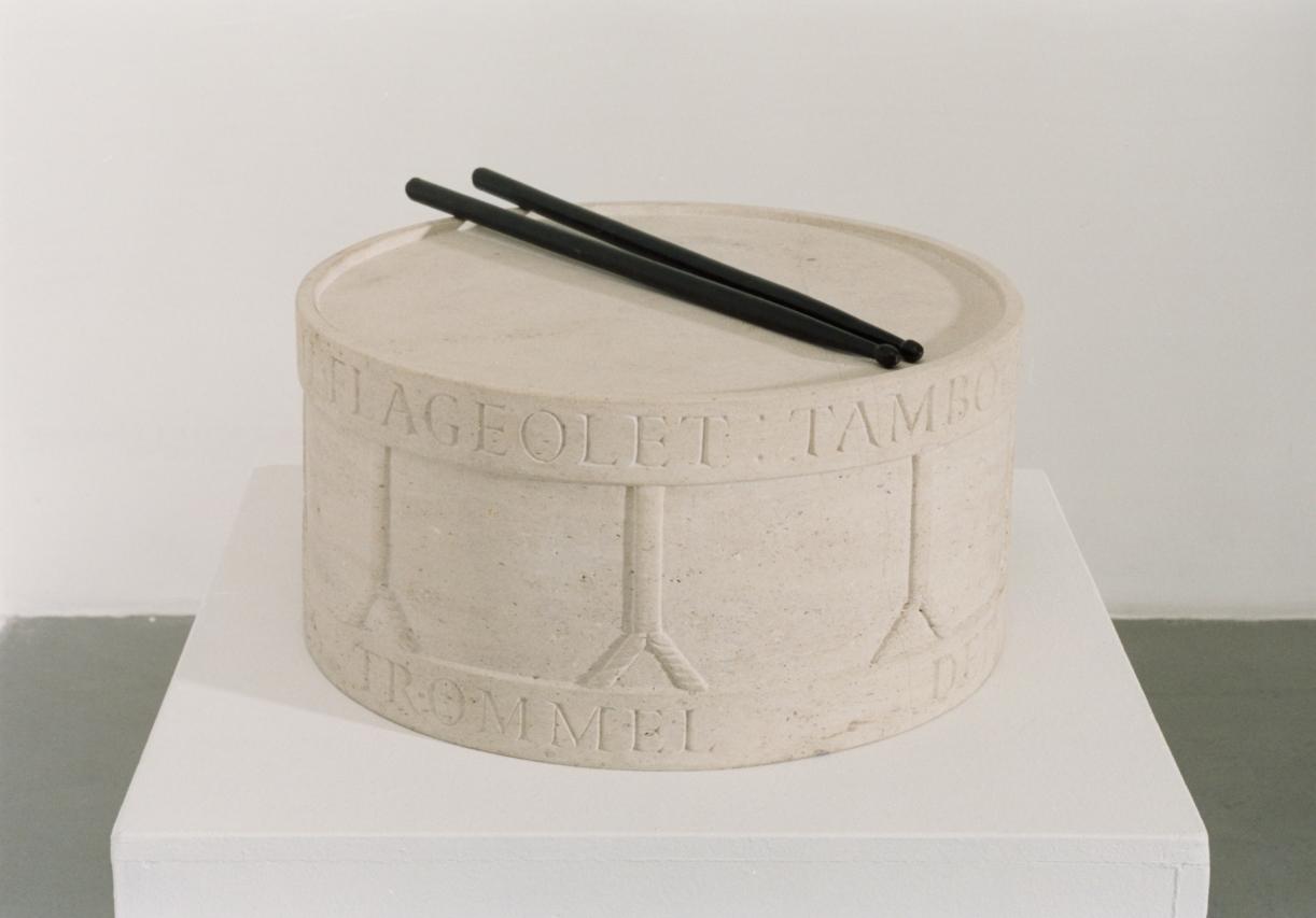 The Flageolet's Surname/Drum, 1991, Sandstone, bronze sticks, 19 x Ø 38 cm