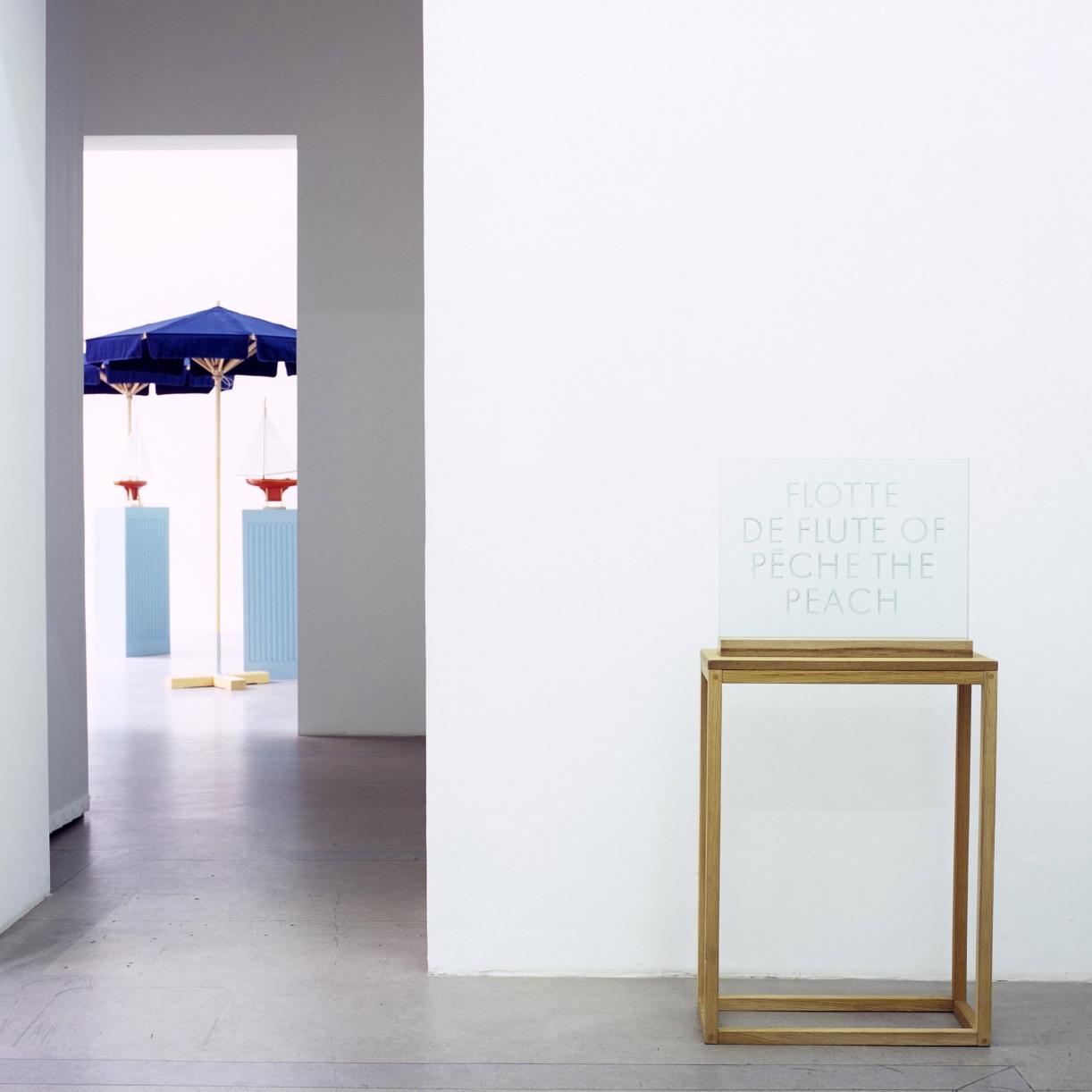 Flotte de Peche, 1990, Engraved glass, wooden stand, 40 x 51 x 10 cm