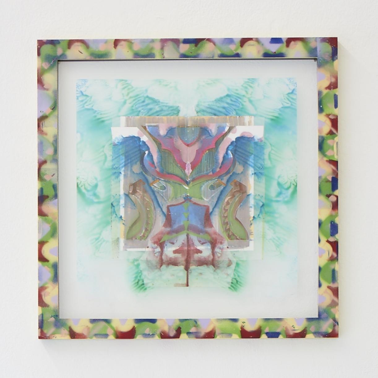 Moritz Altmann, asu, 2017, mixed media on paper and transparency, sprayed frame, 40,5 x 40,5 cm