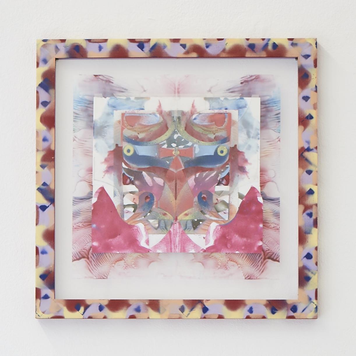 Moritz Altmann, eko, 2017, mixed media on paper and transparency, sprayed frame, 40,5 x 40,5 cm