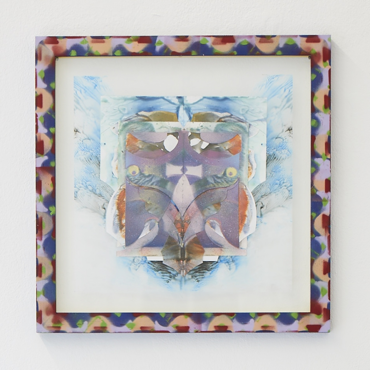Moritz Altmann, iwa, 2017, mixed media on paper and transparency, sprayed frame, 40,5 x 40,5 cm