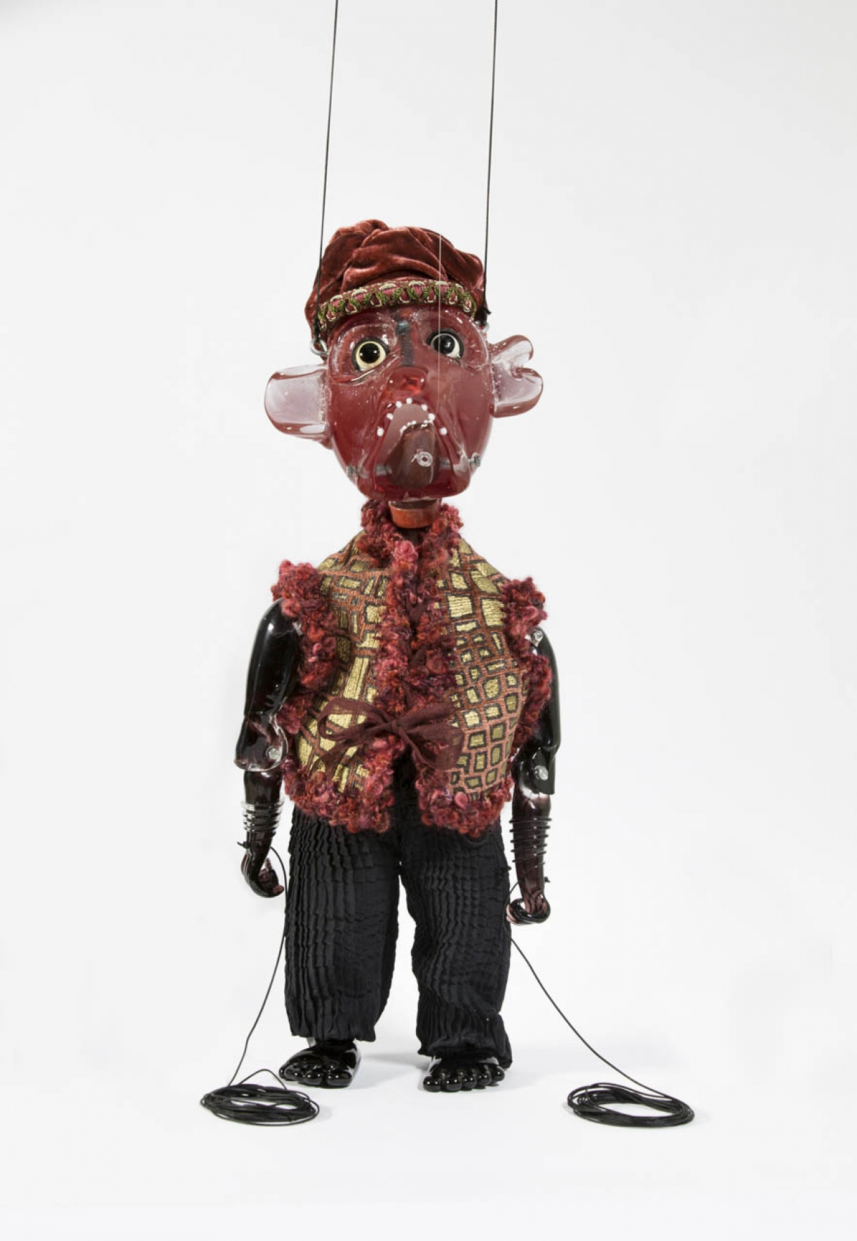 Cabaret Crusades: The Secrets of Karbalaa, Marionette (Mujeer al-Din Abaq), Glass, fabric, enamel, thread, 43 x 16 x 13 cm