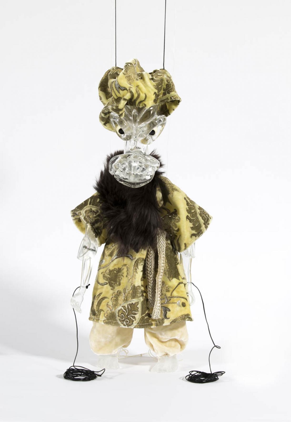 Cabaret Crusades: The Secrets of Karbalaa, Marionette (Semi static Turban 1 of Rashid al-Din Sinan's envoys), Glass, fabric, enamel, thread, 43 x 15 x 12 cm