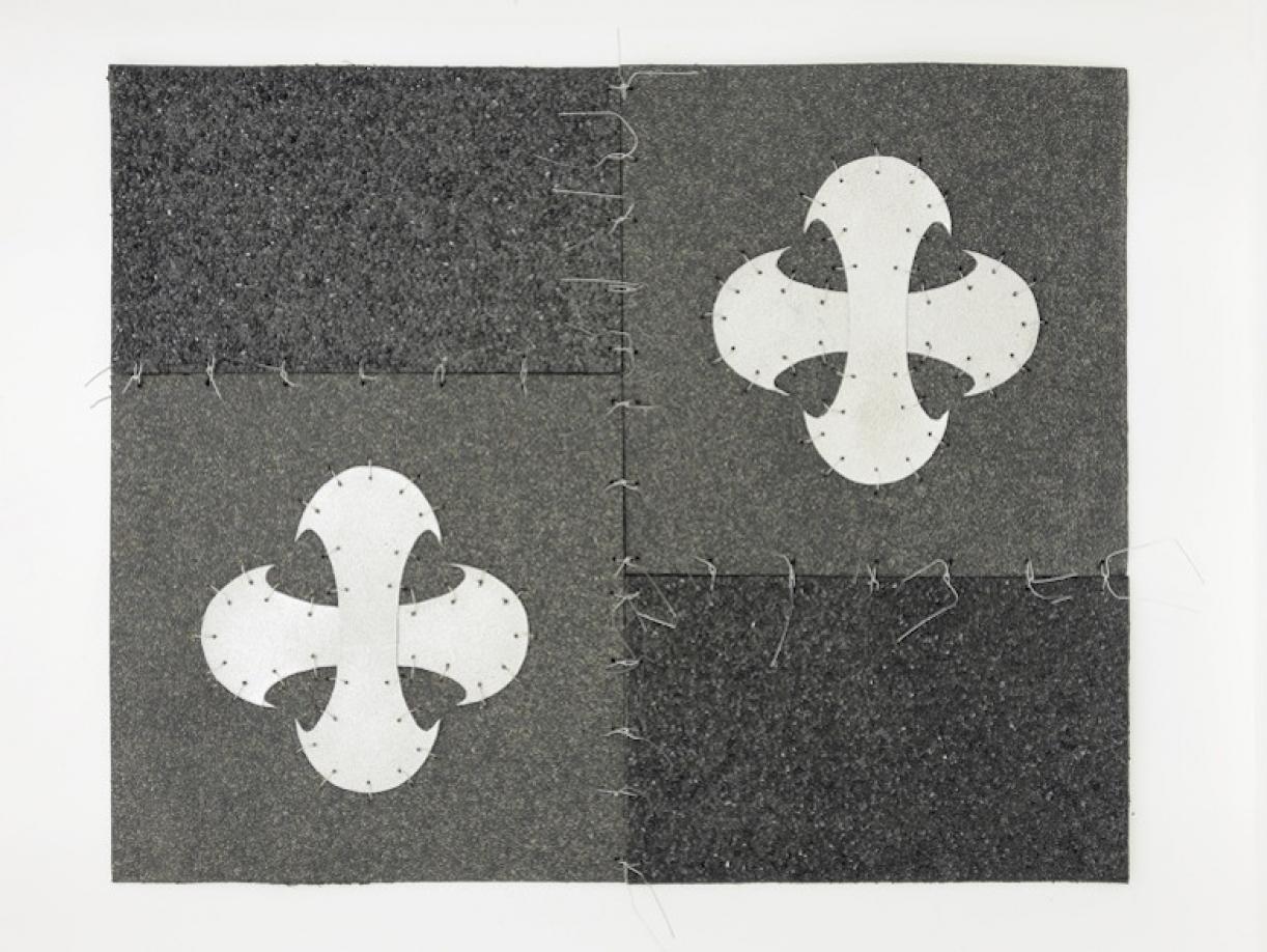 Cabaret Crusades:Flag 1, 2010, Tarmac, sandpaper, pigment, paint, galvanized wire, 40 x 50 cm, framed