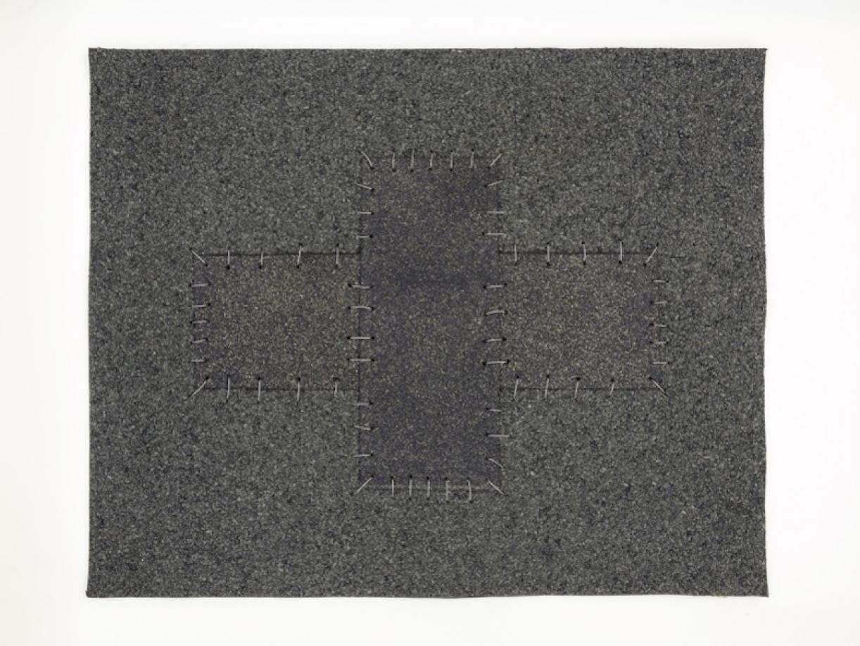 Cabaret Crusades:Flag 10, 2010, Tarmac, sandpaper, pigment, paint, galvanized wire, 40 x 50 cm, framed