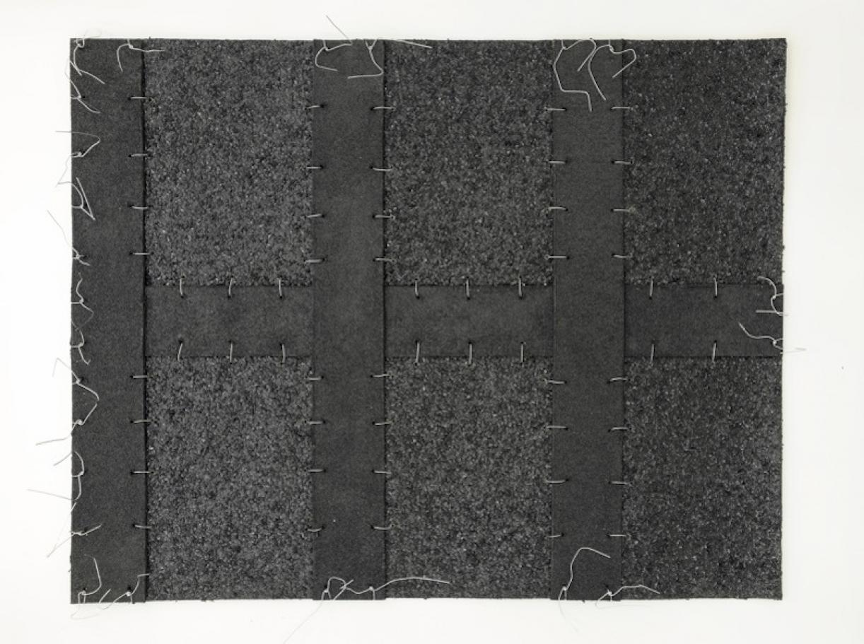 Cabaret Crusades:Flag 2, 2010, Tarmac, sandpaper, pigment, paint, galvanized wire, 40 x 50 cm, framed