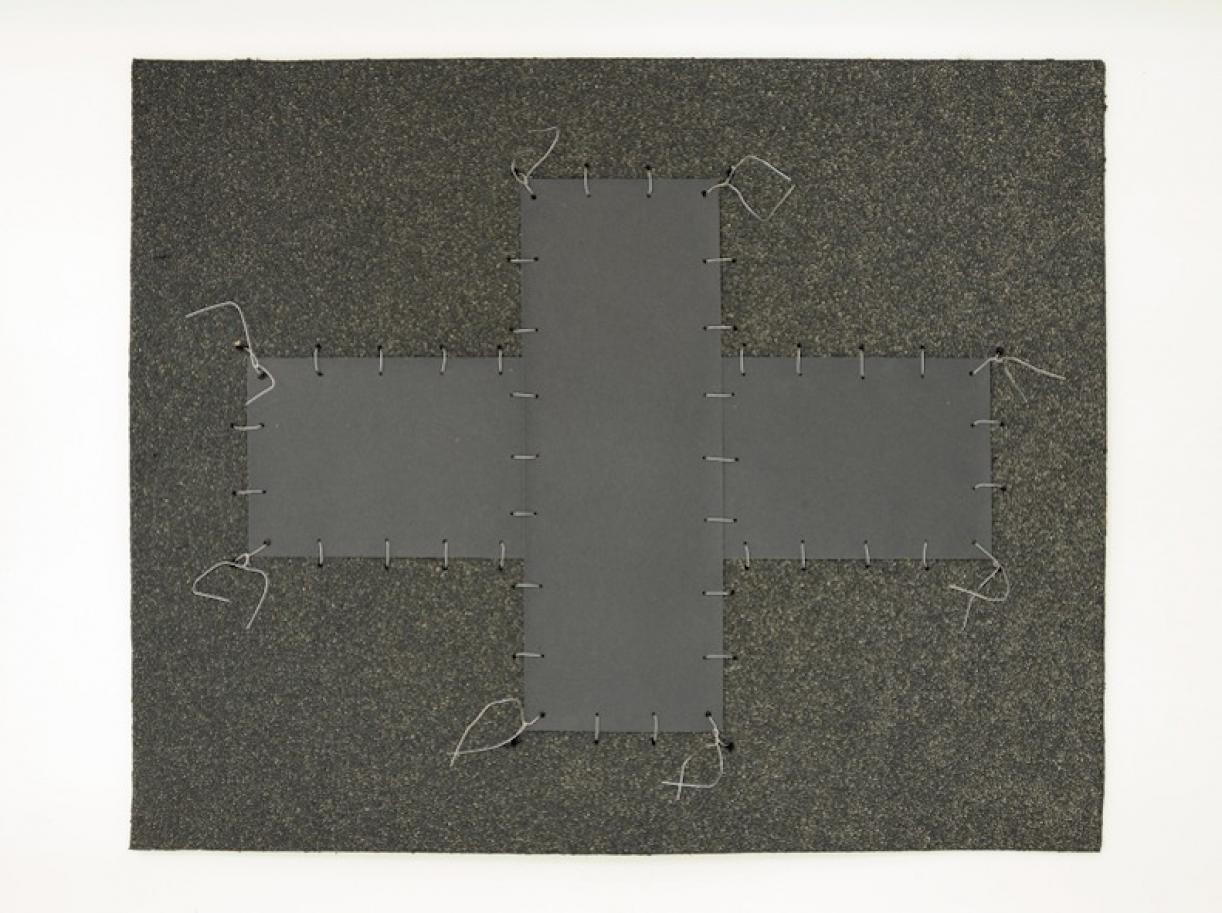 Cabaret Crusades:Flag 4, 2010, Tarmac, sandpaper, pigment, paint, galvanized wire, 40 x 50 cm, framed